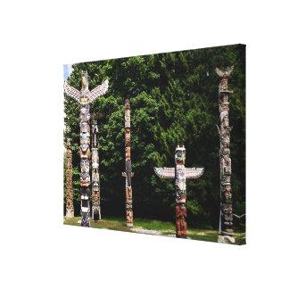 Native American totem poles, Vancouver, British Canvas Print