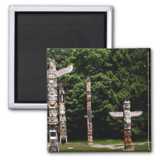 Native American totem poles, Vancouver, British Square Magnet