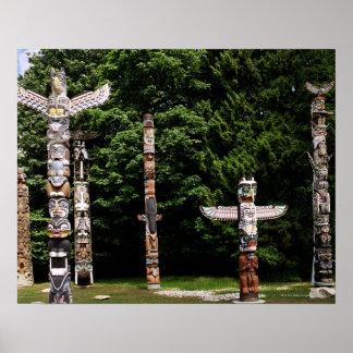 Native American totem poles, Vancouver, British Poster