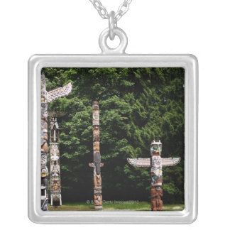 Native American totem poles, Vancouver, British Silver Plated Necklace