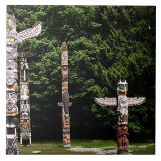 Native American totem poles, Vancouver, British Tile