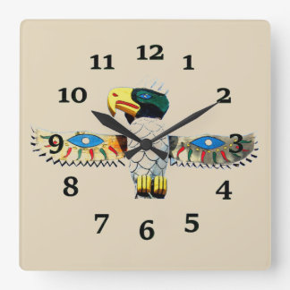 Native American Totem Square Wall Clock