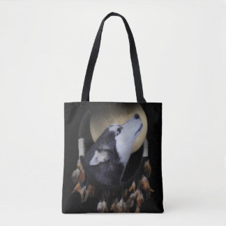 Native American Totem the Dog Dreamcatcher Tote