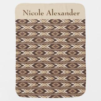 Native American Tribal Brown Baby Blanket