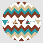 Native American Tribal Chevron Skulls Tipi Arrows Round Sticker