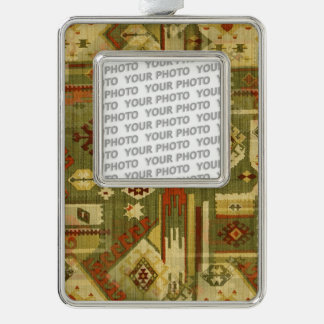 Native american tribal fabric I + your ideas Silver Plated Framed Ornament