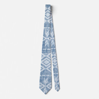 Native American Tribal Pattern Blue Denim Tie