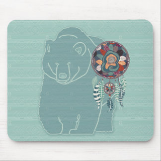 Native American Tribal Spirit Bear Soft Greens Mouse Mat