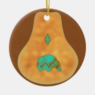 Native American Turquoise Zuni Bear Christmas Ornament