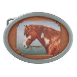 Native American War Horse Copper Oval Belt Buckle