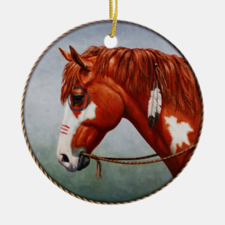 Native American War Horse Double-Sided Ceramic Round Christmas Ornament