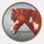 Native American War Horse Round Stickers