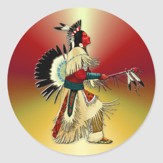 Native American Warrior #5 Round Sticker