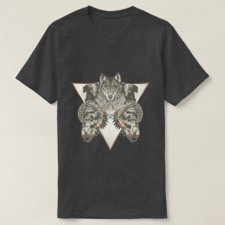 Native American, Wolf With Skull T-Shirt