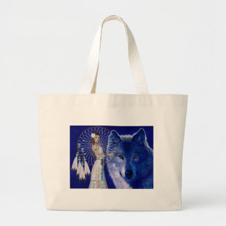 Native American Woman & Blue Wolf Design Large Tote Bag
