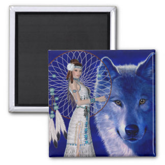 Native American Woman & Blue Wolf Design Square Magnet