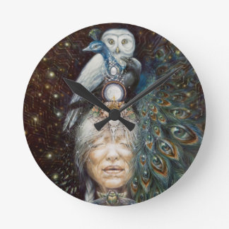 native american woman with owl and peacock round clock