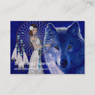 Dreamcatcher business cards zazzle uk native american woman wolf d2 business cards colourmoves