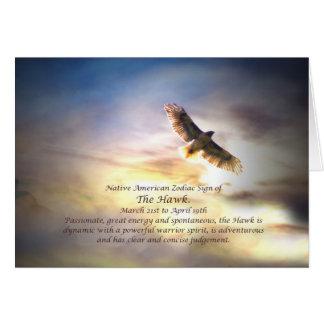 Native American Zodiac Sign of the Hawk Greeting Card