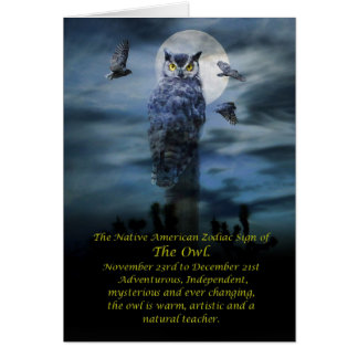 Native American Zodiac Sign of the Owl Greeting Card