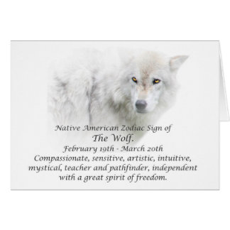 Native American Zodiac Sign The Wolf Greeting Card