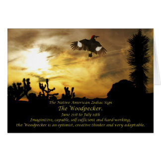 Native American Zodiac Sign the Woodpecker-Cancer Greeting Card