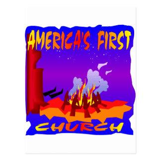 Native Americans, Americas First Church Postcard