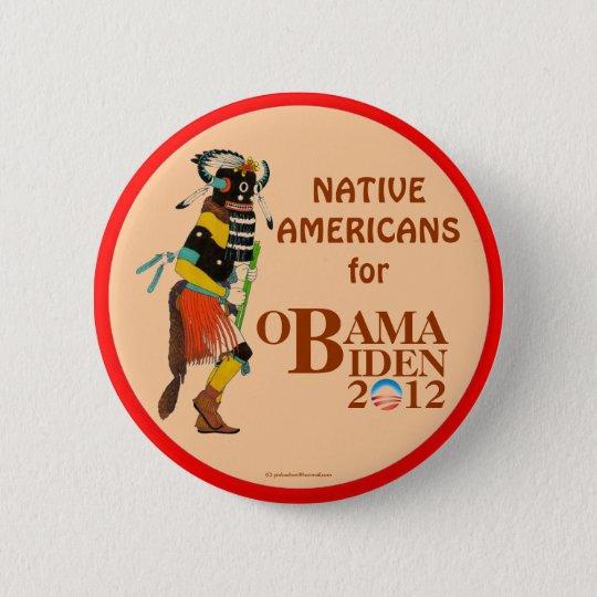 Native Americans for OBAMA BIDEN 2012 political pi 6 Cm Round Badge