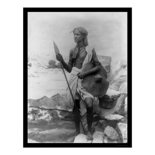 Native and Spear Sudan Africa 1920 Poster