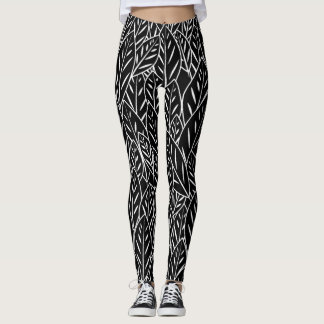 Native B&W Flora Leaves Leggings