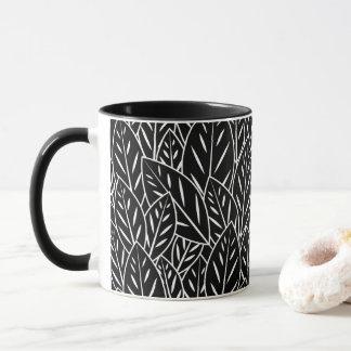 Native B&W Flora Leaves Mug