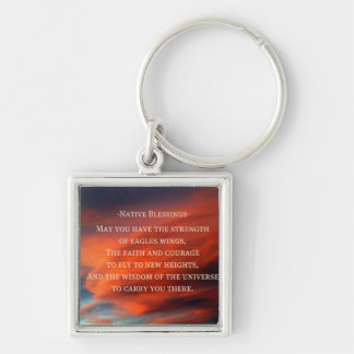 Native Blessings Silver-Colored Square Key Ring