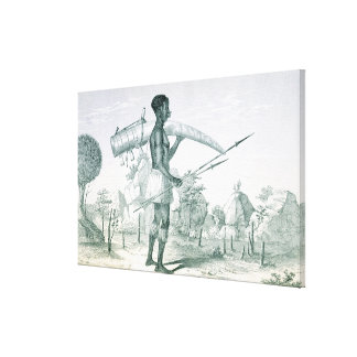 Native carrying a decorated ivory elephant tusk, f stretched canvas prints