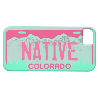 Native Colorado pink teal license plate iphone 5 iPhone 5 Case