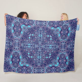 Native Creek Tribal Shaman Moon Mandala Quilt Fleece Blanket