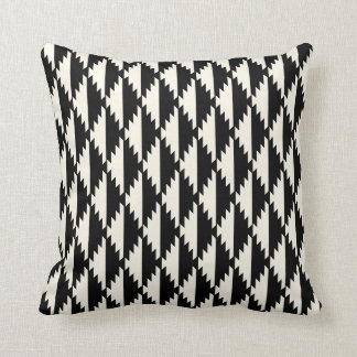 Native Diamond Tribal Pattern Black and Cream Cushion