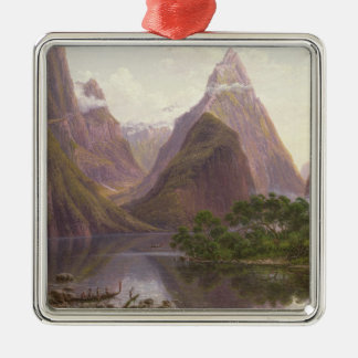 Native figures in a canoe at Milford Sound Christmas Ornament