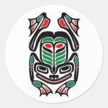 Native Haida Art Frog - black on white Round Sticker