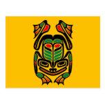 Native Haida Art Frog - black on yellow