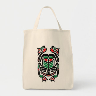 Native Haida Art Frog - black Tote Bag