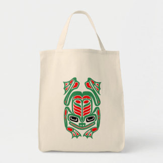 Native Haida Art Red and Green Frog Grocery Tote Bag
