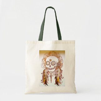 native indian skull, feathers & flowers beach bag