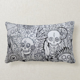native indian skull, feathers & flowers cushion throw pillow