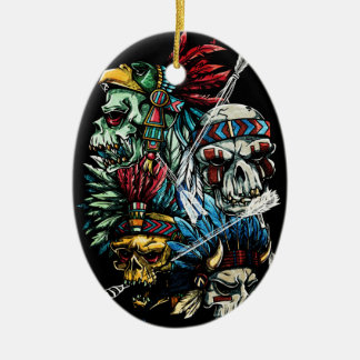Native Indian Skull Skeleton Christmas Ornament