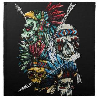 Native Indian Skull Skeleton Napkin