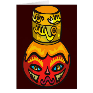 Native Mask Face on Flask Cards