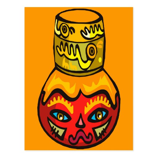Native Mask Face on Flask Postcard