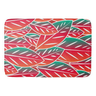 Native Red Flora Leaves Bath Mat