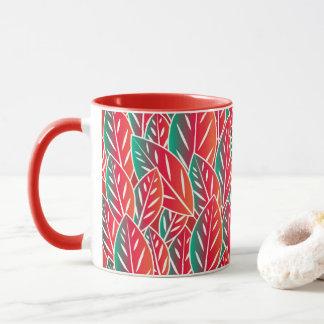 Native Red Flora Leaves Mug