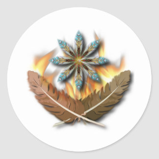 native red tailed hawk feathers and flames digital round sticker